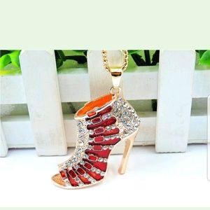 BJ Red Enamel & Crystal High Heel Pendant Necklace